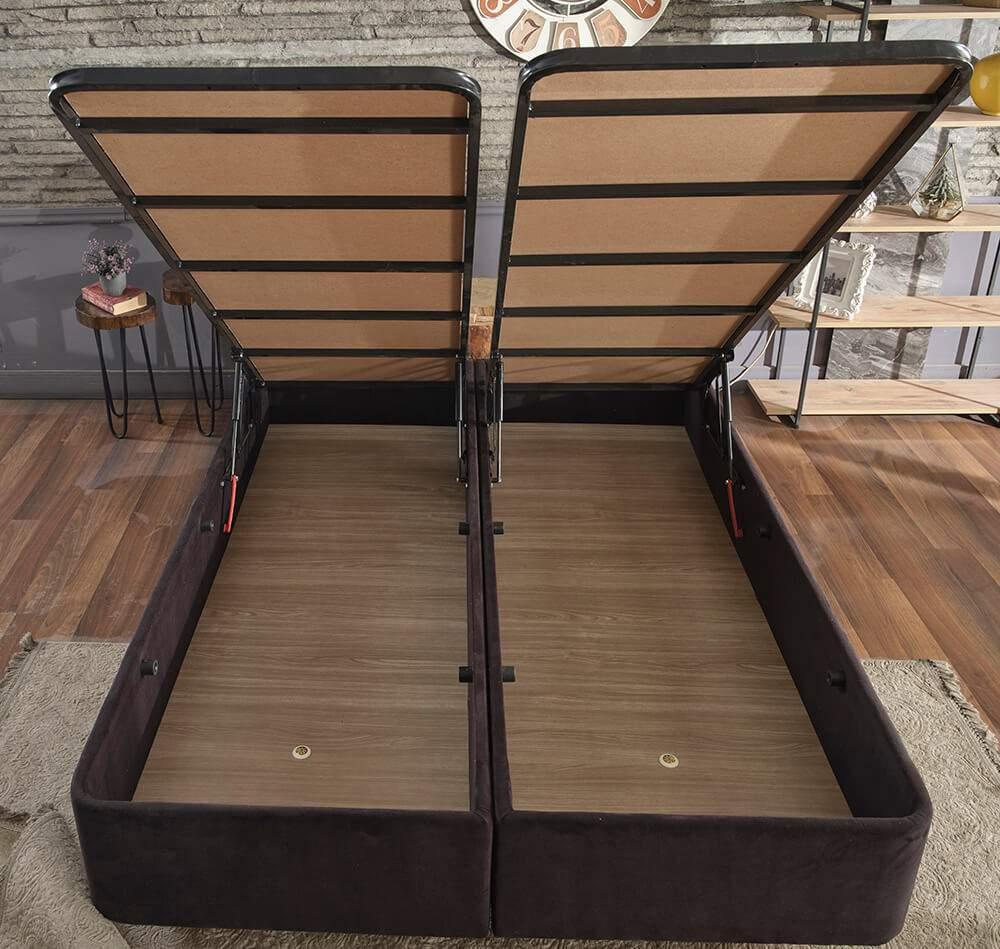 Niron Ela Baza ve Başlık Seti 160x200 cm Çift Kişilik Siyah Kumaş Baza ve Başlığı Silinebilir Soho Kumaş