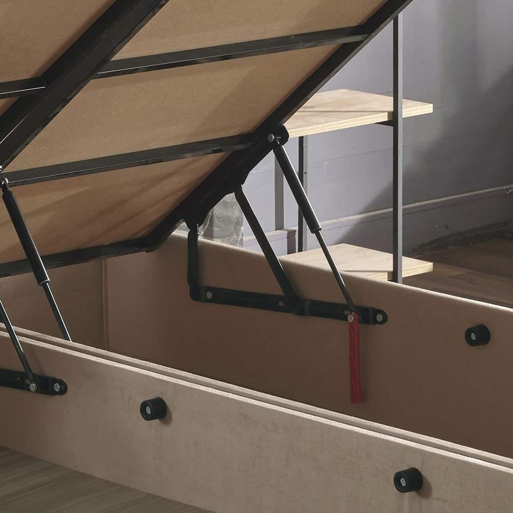 Niron Ela Baza ve Başlık Seti 140x190 cm Çift Kişilik Sütlü Kahve Kumaş Baza ve Başlığı Soho Kumaş