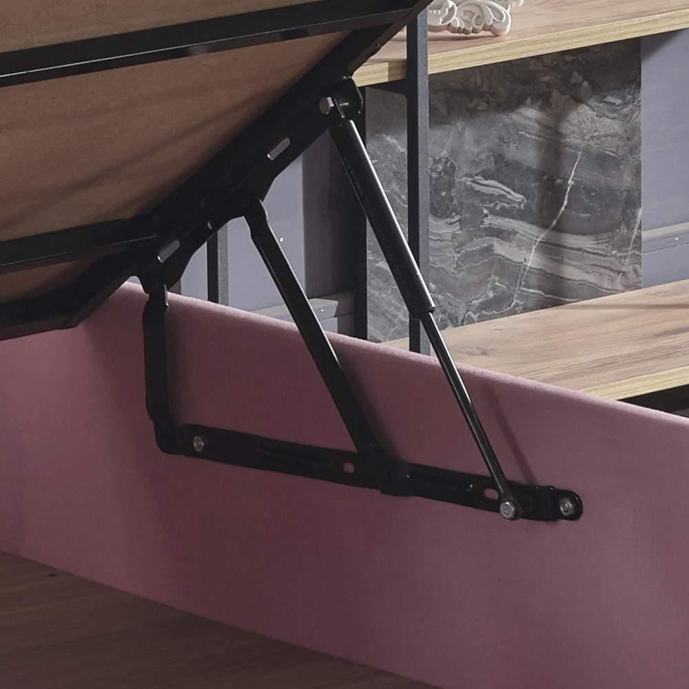 Pinky Baza ve Başlık - 90x190 cm Tek Kişilik Sandıklı Pembe Kumaş Baza ve Başlığı Silinebilir