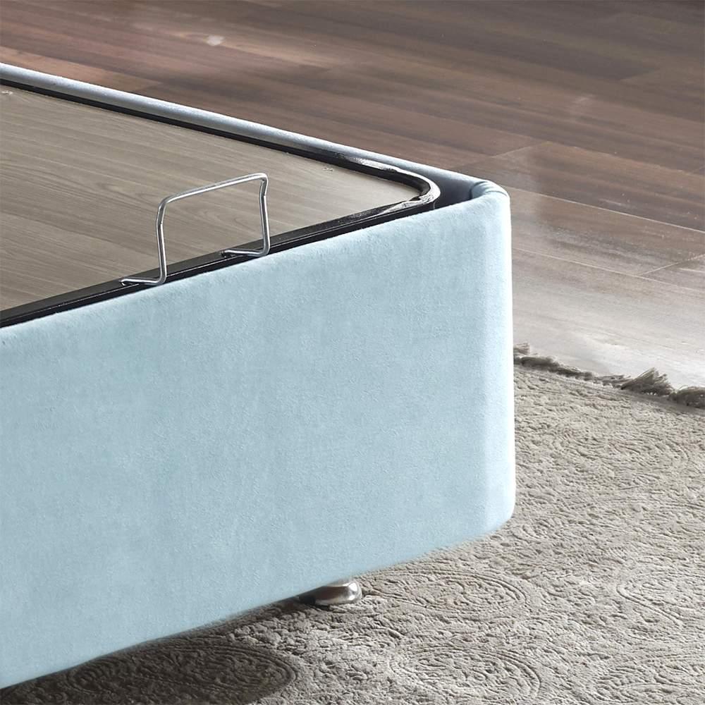 Cozy Baza ve Başlık - 90x190 cm Tek Kişilik Sandıklı Bebek Mavisi Kumaş Baza ve Başlığı Silinebilir