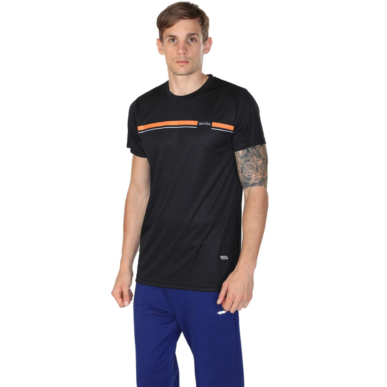 Sportive Erkek Bisiklet Yaka Siyah Spor Tişörtü 100885-00S