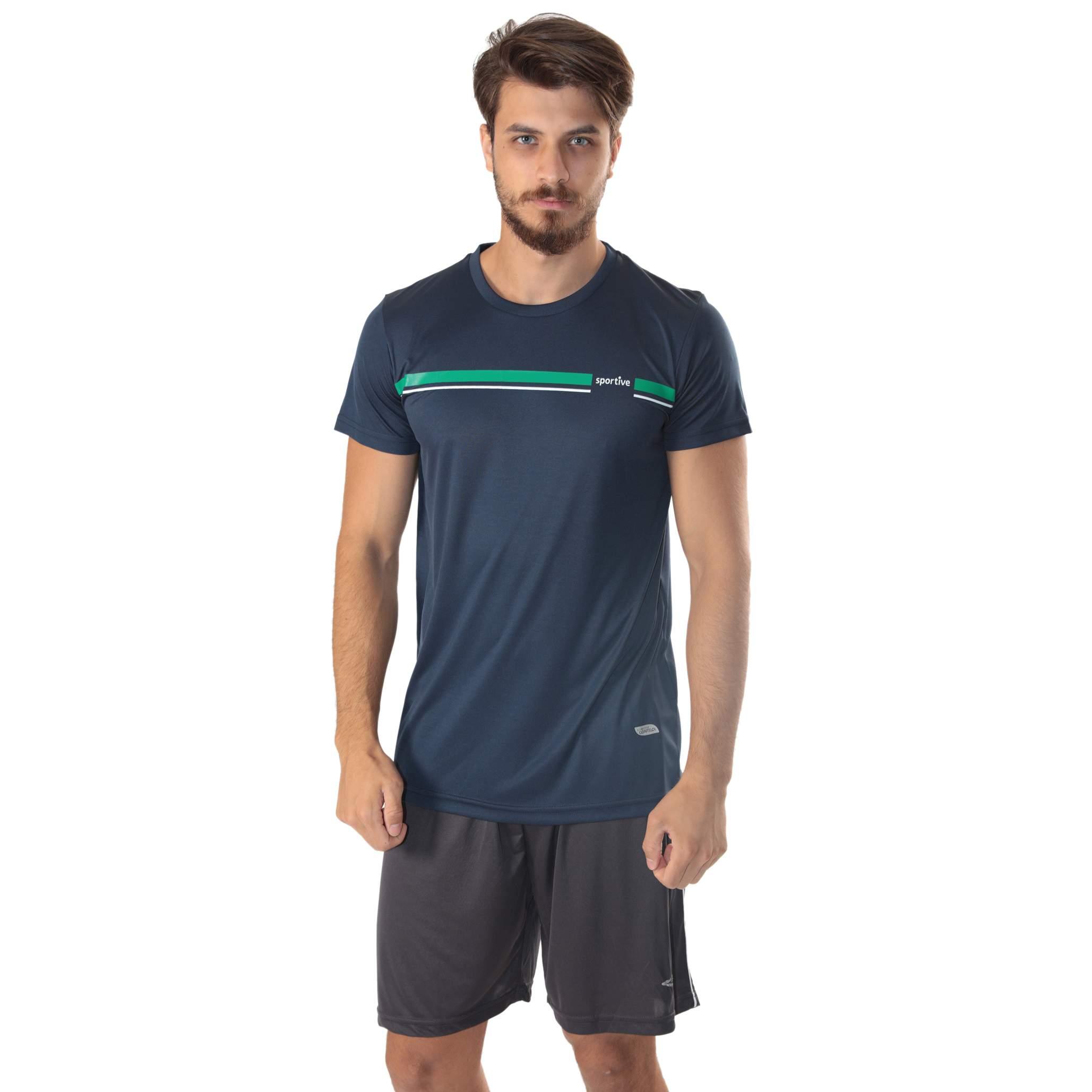 Sportive Erkek Bisiklet Yaka Baskılı Tişört 100885-00L