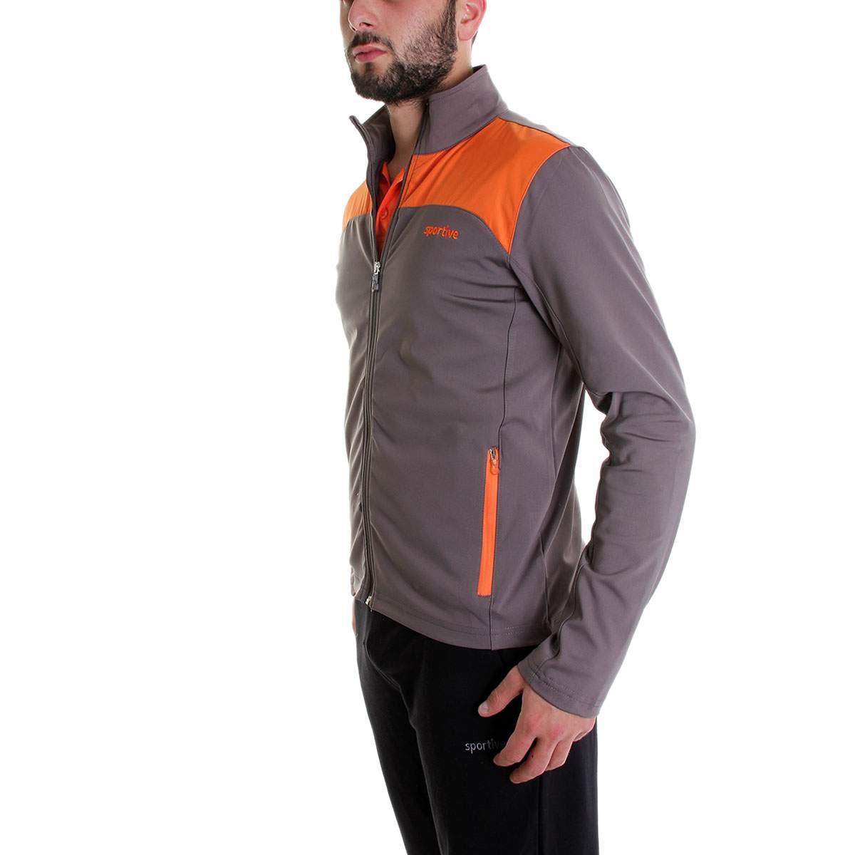 Sportive Mikpoltop Erkek Fermuarlı Gri-Turuncu Sweatshirt
