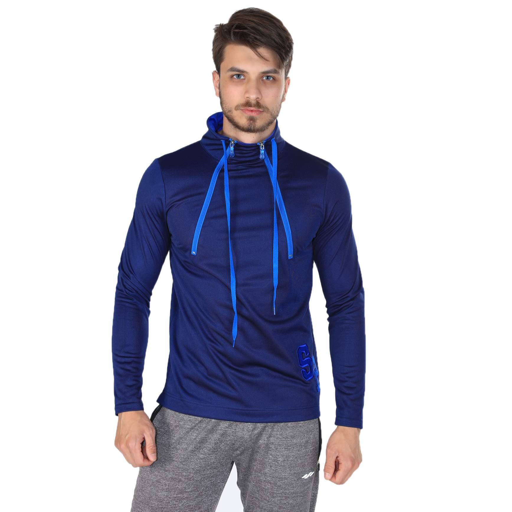 Sportive Erkek Yarım Fermuarlu Mavi - Kırmızı Sweatshirt