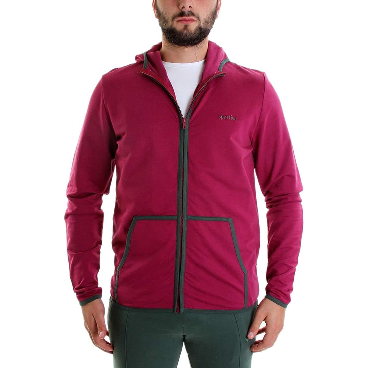 Sportive Erkek Fermuarlı Kapüşonlu Lacivert - Pembe Sweatshirt