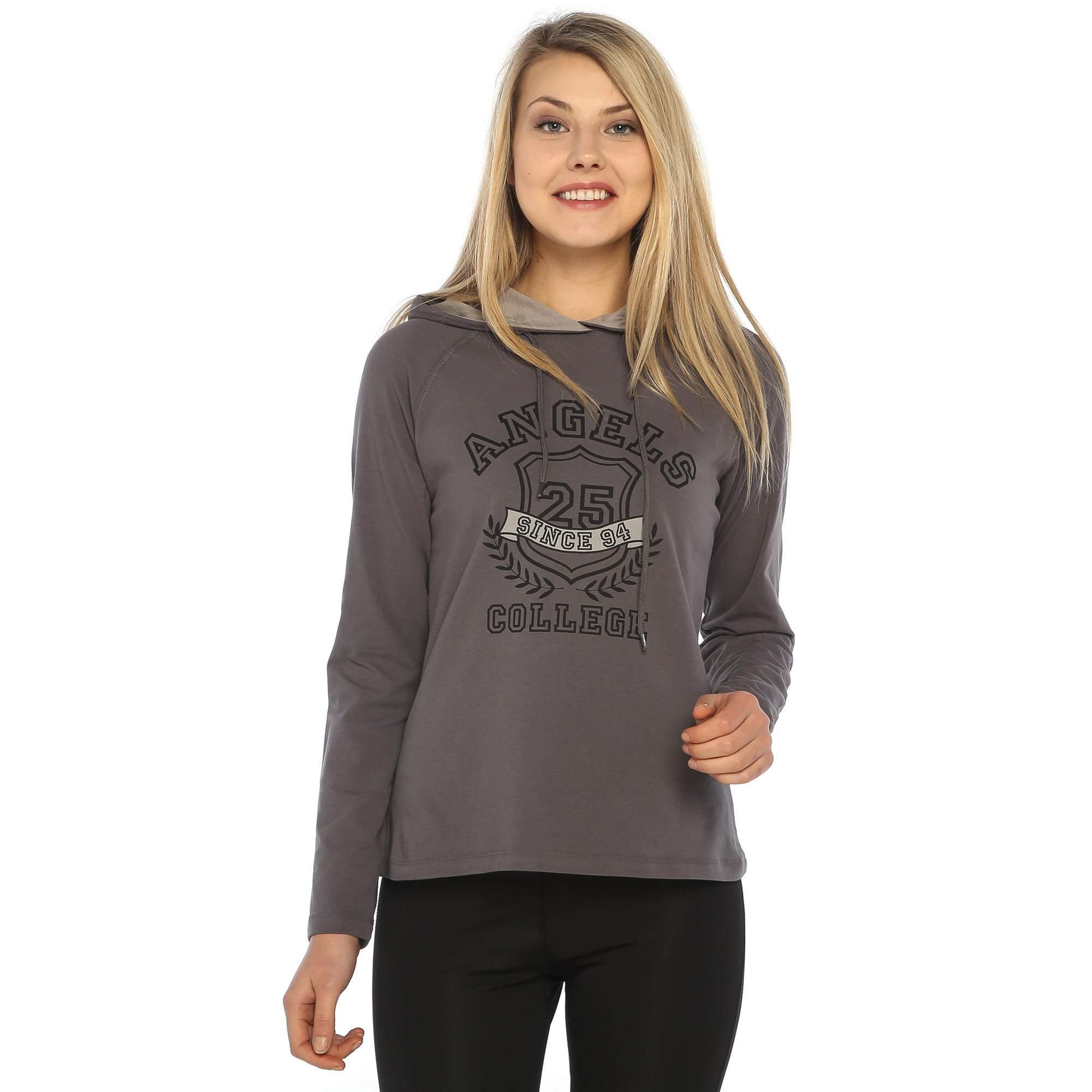 Sportive Swegels Kadın Kapüşonlu Baskılı Sweatshirt 525034-00F-00A
