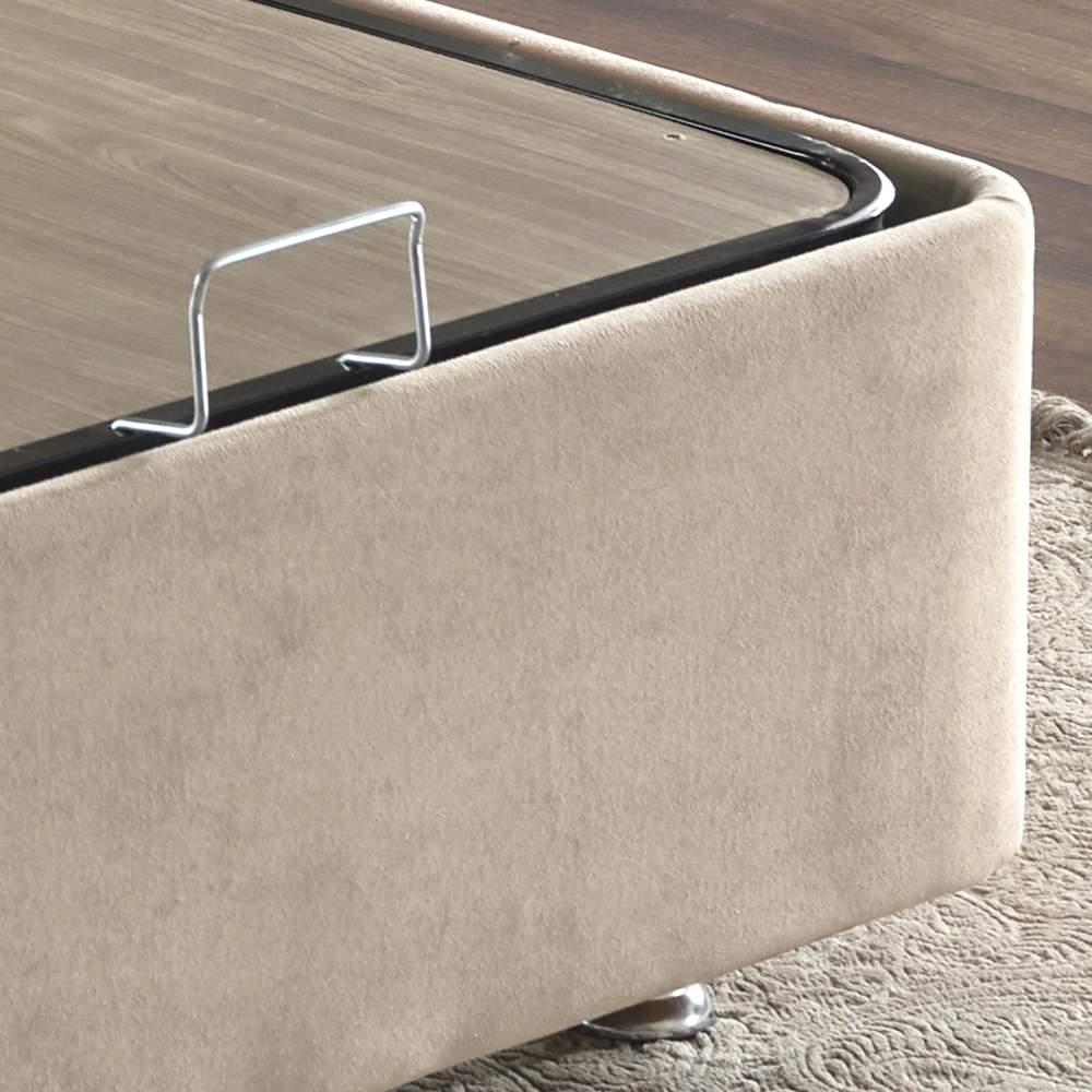 Niron Ela Baza ve Başlık Seti - 90x190 cm Tek Kişilik Sütlü Kahve Kumaş Baza ve Başlığı Soho Kumaş